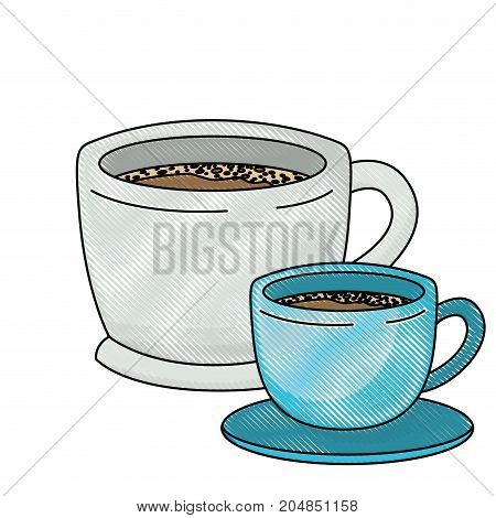 set big and small cup of coffee colored crayon silhouette vector illustration