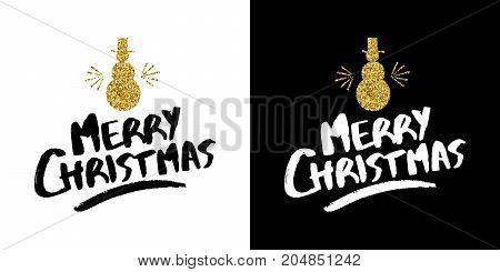 Gold merry Christmas snowman text quote calligraphy lettering design for holiday season made of golden glitter. Creative vintage typography font illustration. EPS10 vector.