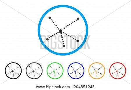 Dotted Relations rounded icon. Style is a flat dotted relations grey symbol inside light blue circle with black, gray, green, blue, red, orange versions.