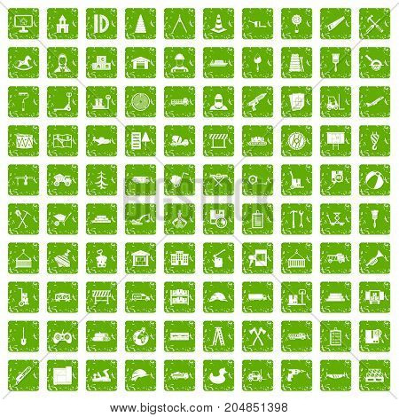100 lorry icons set in grunge style green color isolated on white background vector illustration