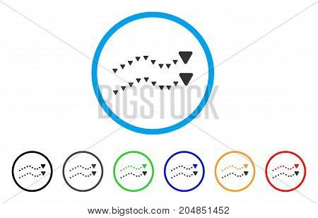 Dotted Trends rounded icon. Style is a flat dotted trends grey symbol inside light blue circle with black, gray, green, blue, red, orange variants. Vector designed for web and software interfaces.