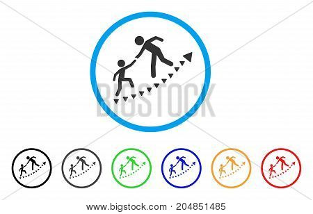 Education Progress rounded icon. Style is a flat education progress gray symbol inside light blue circle with black, gray, green, blue, red, orange color versions.