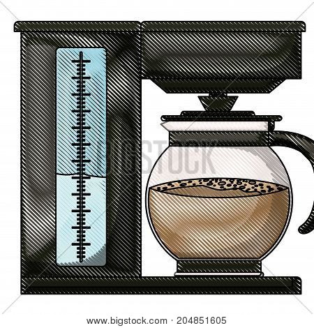 coffee maker with glass jar colored crayon silhouette vector illustration