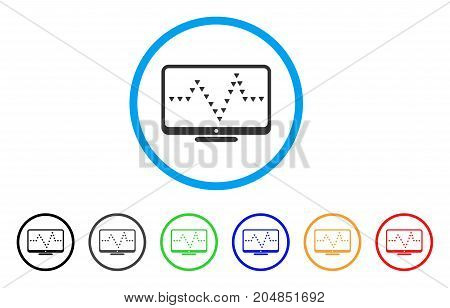 Monitor Dotted Pulse rounded icon. Style is a flat monitor dotted pulse grey symbol inside light blue circle with black, gray, green, blue, red, orange versions.