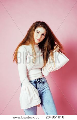 cute pretty redhair girl smiling cheerful on pink background, lifestyle modern people concept close up