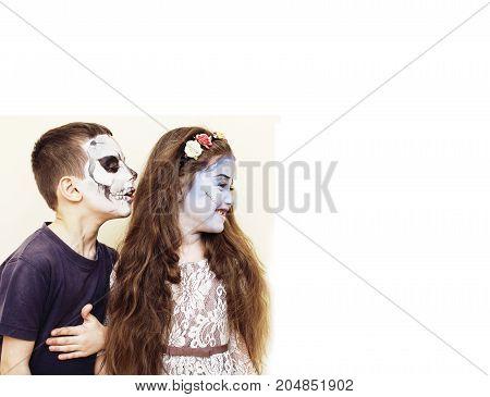 zombie apocalypse kids concept. Birthday party celebration facepaint on children dead bride, scar face, zombie skeleton together close up makeup emotional posing. halloween close up
