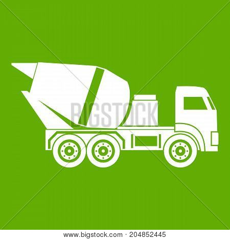 Building mixer for concrete icon white isolated on green background. Vector illustration