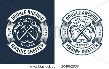 Round nautical logo tattoo with crossed anchors in vintage style. Worn texture on a separate layer and can be easily disabled.