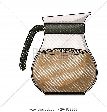 rounded glass jar of coffee with handle colored crayon silhouette vector illustration