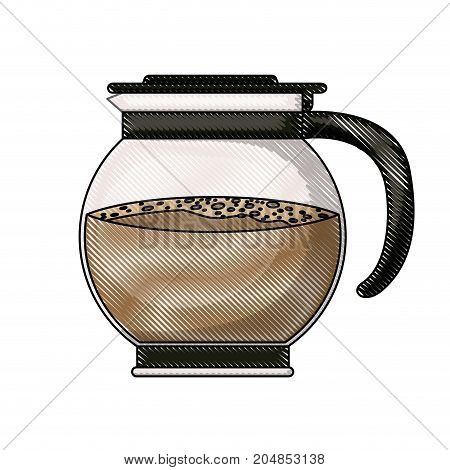 rounded glass jar recipient of coffee with handle colored crayon silhouette vector illustration