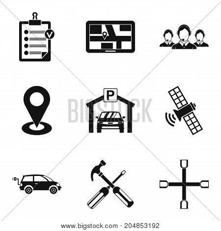 Satellite navigation icons set. Simple set of 9 satellite navigation vector icons for web isolated on white background