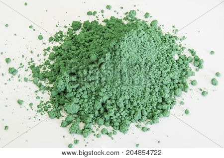 Green Pigment Isolated Over White