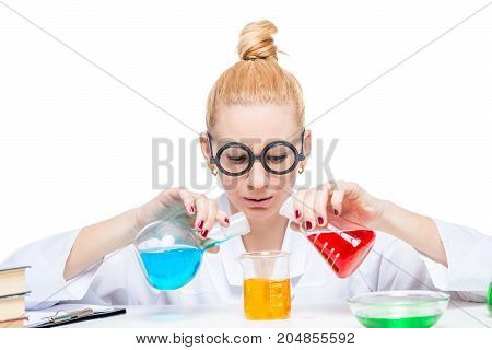Chemist Lab Assistant With Test Tubes With Dangerous Substances On White Background