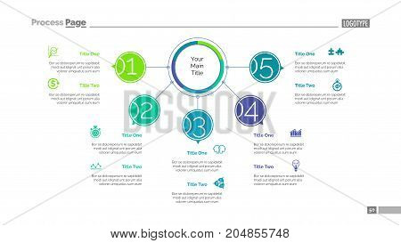 Five points process chart slide template. Business data. Structure, diagram, design. Creative concept for infographic, presentation. Can be used for topics like management, workflow, teamwork.