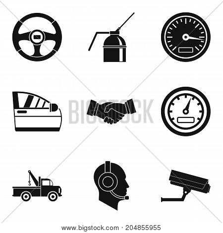 Car evacuation icons set. Simple set of 9 car evacuation vector icons for web isolated on white background