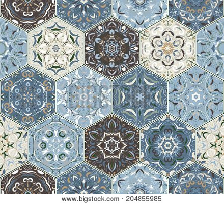 Eastern seamless pattern tiles. Colorful vector set of hexagonal elements for design of wallpaper, fabric or wrapping paper.