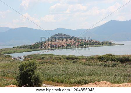 Saint Achilleios island at Prespes Lake Florina northern Greece