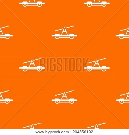Draisine or handcar pattern repeat seamless in orange color for any design. Vector geometric illustration