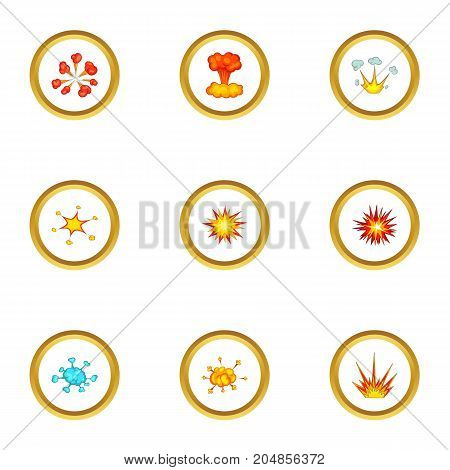 Explode animation effect icons set. Cartoon style set of 9 explode animation effect vector icons for web design