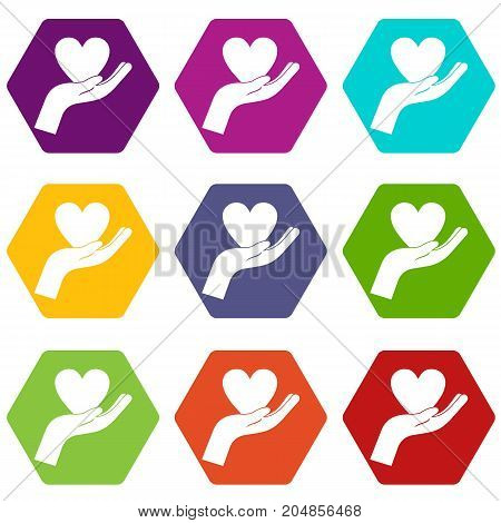 Hand holding heart icon set many color hexahedron isolated on white vector illustration