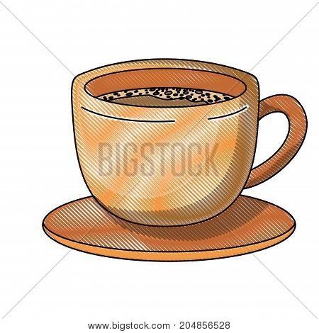 cup of coffee with handle on dish colored crayon silhouette vector illustration