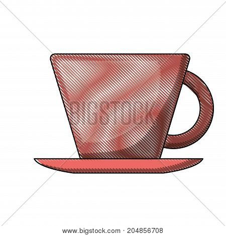 porcelain cup on dish colored crayon silhouette vector illustration