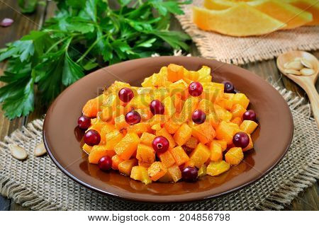 Vegetarian salad with pumpkin and cranberri on plate close up