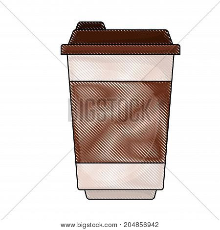 glass disposable for hot drinks with lid colored crayon silhouette vector illustration
