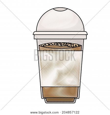 glass disposable for hot drinks colored crayon silhouette vector illustration