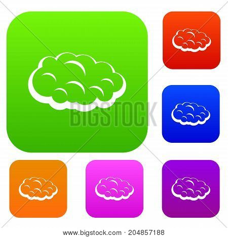 Cloud set icon color in flat style isolated on white. Collection sings vector illustration