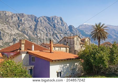 Traditional Mediterranean houses with red tiled roofs and mountains in the background. Montenegro Prcanj town