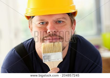 Arm Of Smiling Worker Hold Brush Portrait