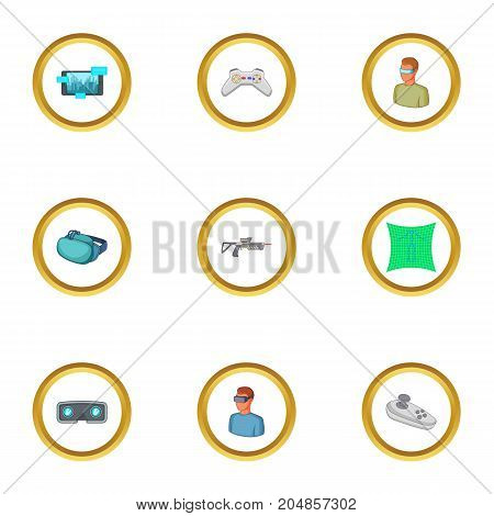 VR icons set. Cartoon style set of 9 VR vector icons for web design