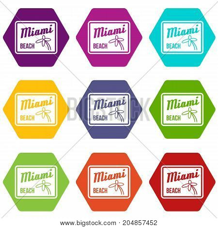 Miami beach icon set many color hexahedron isolated on white vector illustration