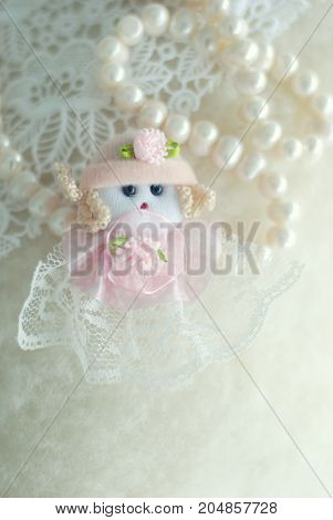 decor baby girl statue for baby shower. white girl with pearls