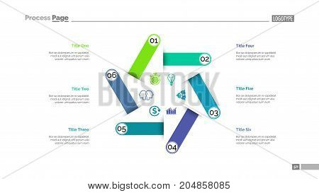Six steps process chart slide template. Business data. Structure, diagram, design. Creative concept for infographic, presentation. Can be used for topics like management, production, workflow.