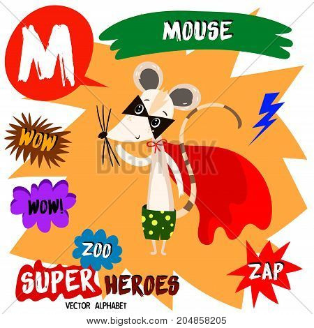 Super Big Set. Cute Vector Zoo Alphabet With Animals In Cartoon Style.letter M-mouse In Superheroes