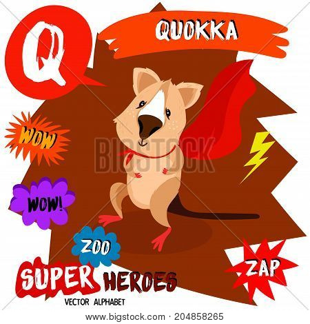Super Big Set. Cute Vector Zoo Alphabet With Animals In Cartoon Style.letter Q-quokka In Superheroes