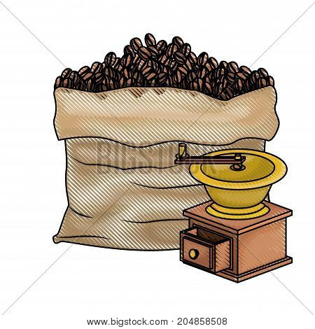 bag of coffee beans and griding with crank colored crayon silhouette vector illustration