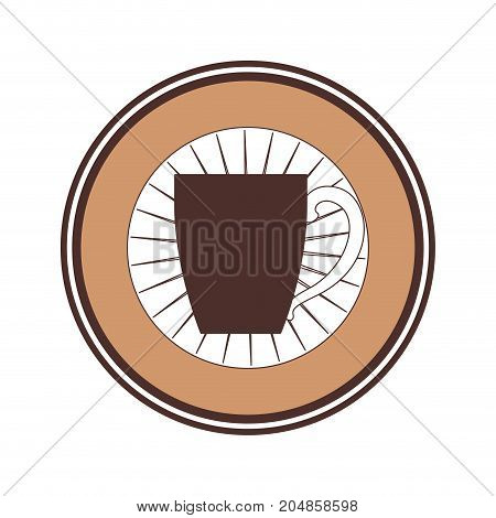 decorative circular emblem of porcelain mug of coffee with handle silhouette color section vector illustration