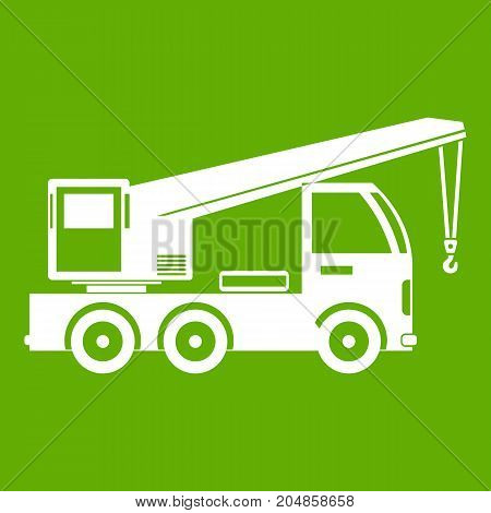 Truck mounted crane icon white isolated on green background. Vector illustration
