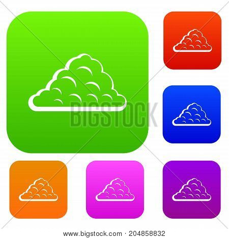 One cloud set icon color in flat style isolated on white. Collection sings vector illustration