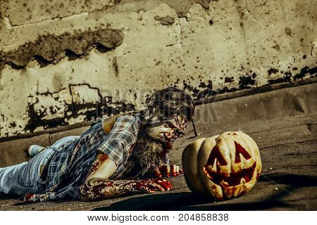 Halloween vampire in torn clothes on grunge background. War soldier with bloody wounds. Halloween holiday celebration concept. Man crawling to pumpkin. Zombie hipster with red blood on paving asphalt.