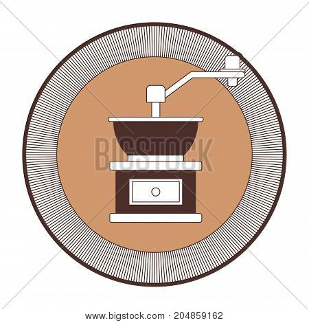 decorative circular logo of coffee grinding with crank silhouette color section vector illustration