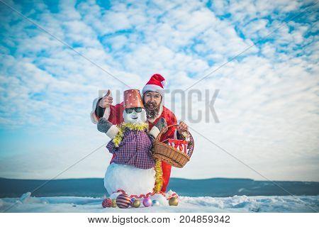 Santa Man Showing Thumbs Up Hand