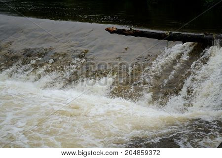 small stream is due to extreme rains a tearing river