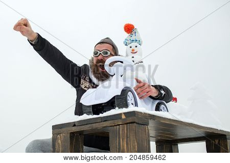 Excited Hipster On White Sky