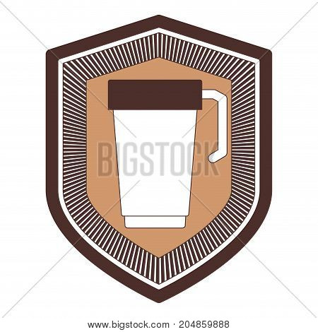 logo badge decorative of glass disposable for hot drinks with handle silhouette color section vector illustration