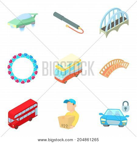 Public transport icons set. Cartoon set of 9 public transport vector icons for web isolated on white background