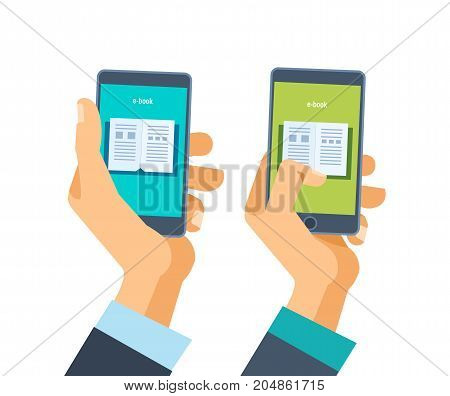 Concept of online learning and education. Hand holds phone with software with educational application. Distance learning. Mobile applications. Vector illustration isolated.